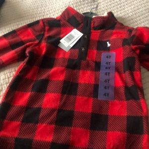 Fleece buffalo plaid sweater